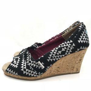 TOMS Cork Wedge Heel Black Silver Geometric 8